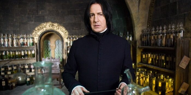 Professor Snape in the Potions classroom