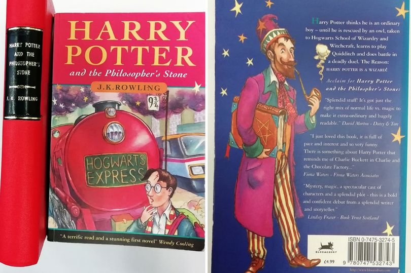 A hardback and a paperback first edition Harry Potter and the Philosopher's Stone books are pictured on the left, on the right is the back of the paperback with blurbs and a quirky illustration of a wizard.