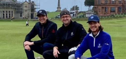 Tom Felton, James and Oliver Phelps waiting to tee off on the golf course.