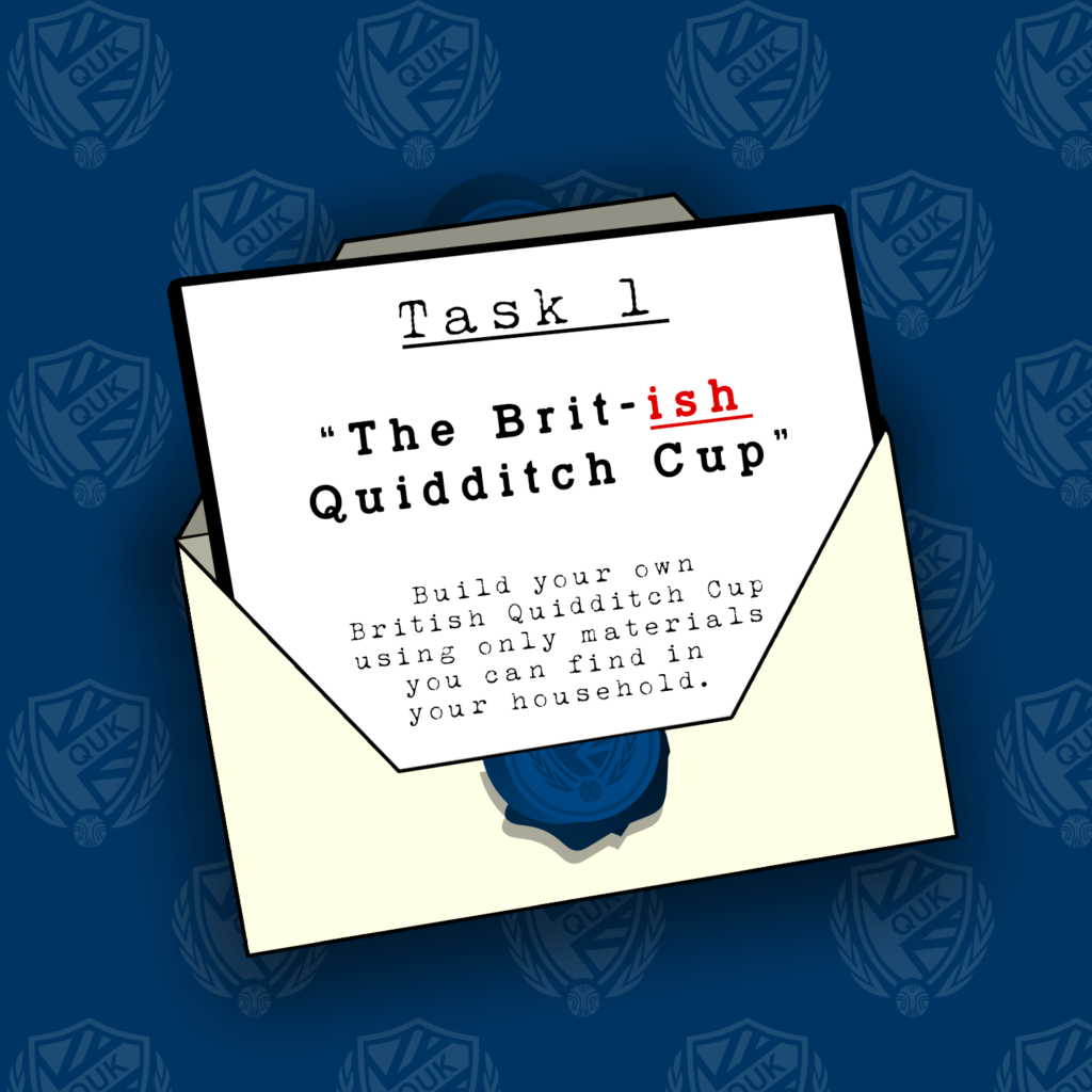 There is an open white envelope with the instructions for the first task in it. The background is blue.