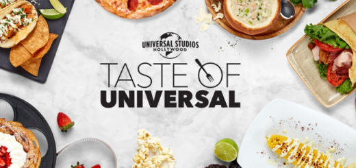 A promotional image for Taste of Universal features the event logo surrounded by numerous plates of food.