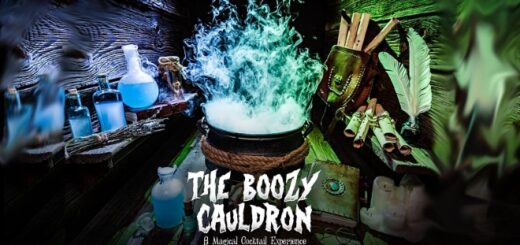 A featured image for the Boozy Cauldron Pop-Up Tavern, a cocktail pop-up event, is shown.