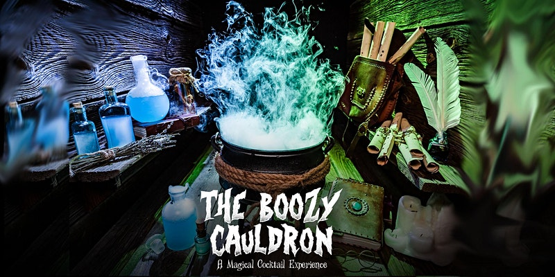 The Eventbrite banner for the Boozy Cauldron Pop-Up Tavern in Fort Lauderdale is shown.