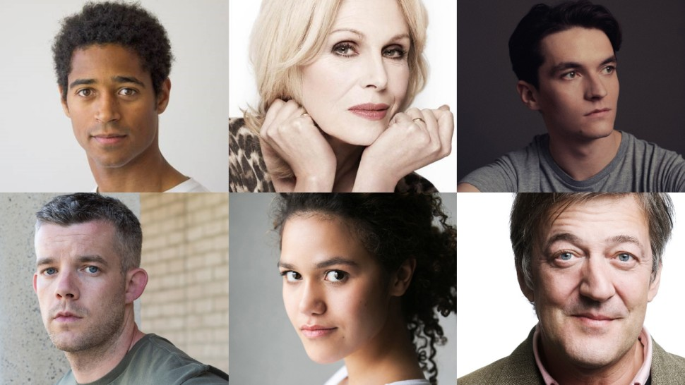 A six-way split image of headshots of Alfred Enoch, Joanna Lumley, Fionn Whitehead, Russell Tovey, Emma McDonald, and Stephen Fry.