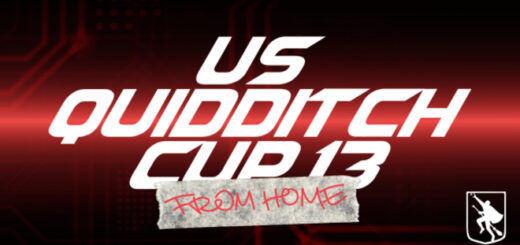 "The logo for US Quidditch Cup 13: FROM HOME is displayed, featuring ""US Quidditch Cup 13"" in white text against a red background. ""FROM HOME"" is shown on a piece of tape in front of the lower portion of ""Cup 13."""