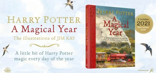 """Harry Potter – A Magical Year: The Illustrations of Jim Kay"" Bloomsbury promotional graphic featuring cover and promo text"