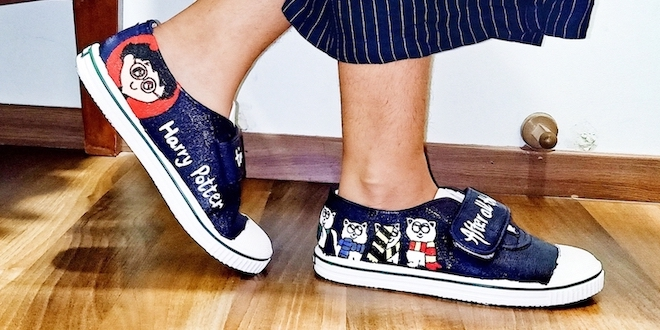 """This is a DIY for hand-painted """"Harry Potter"""" shoes."""