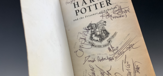 """A copy of """"Harry Potter and the Prisoner of Azkaban"""" signed by eight of the film's actors is pictured as displayed by David Lay Auctions."""