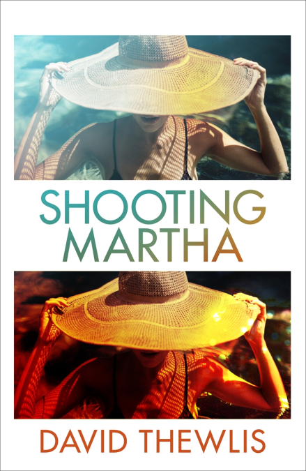"The cover art for ""Shooting Martha"" shoes a women in a swimming pool with a wide-brim hat covering her face."