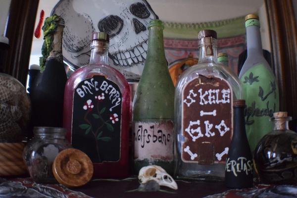 Finished DIY potion bottles