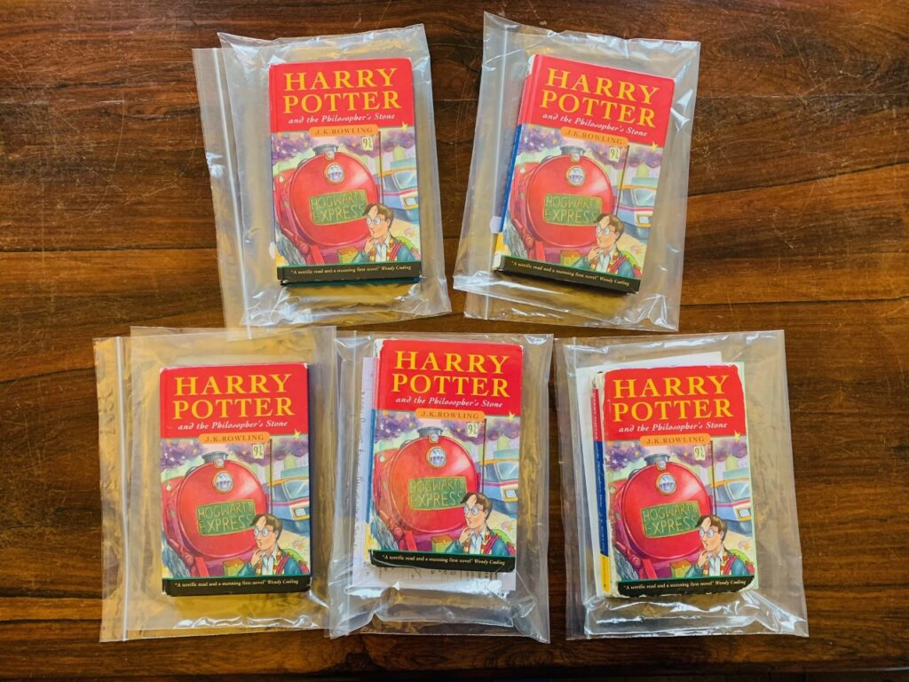 """Five first-edition copies of """"Harry Potter and the Sorcerer's Stone."""""""