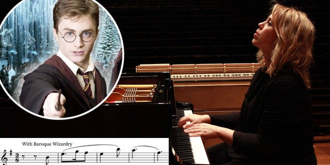 """Gabriela Montero is sat at a piano, playing. On the image are edited a portrait of Daniel Radcliffe as Harry Potter and a line of sheet music with the annotaion """"With Baroque Wizardry."""""""