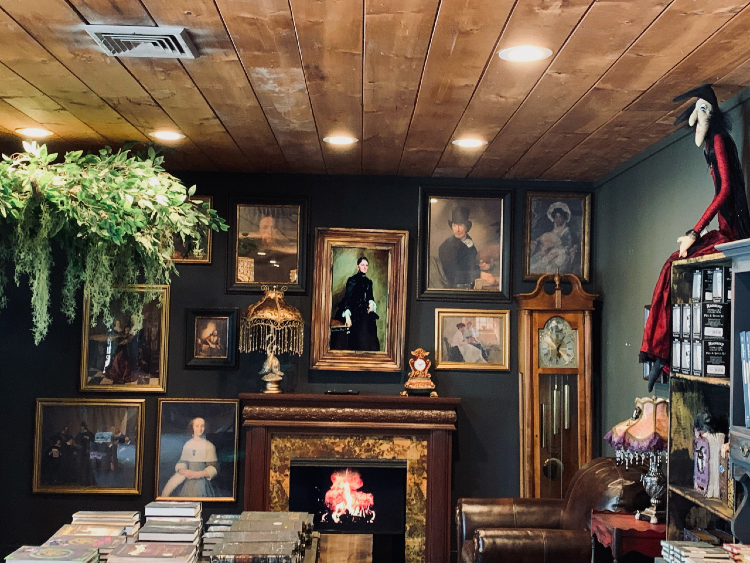 A variety of portraits and objects fill the spaces on the walls and shelves. But beware, they might be haunted.