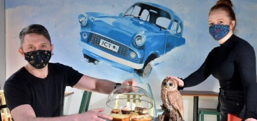 "Massive ""Harry Potter"" fan and co-owner Jennie Bentley painted this gorgeous mural of the flying Ford Anglia from ""Harry Potter and the Chamber of Secrets."""