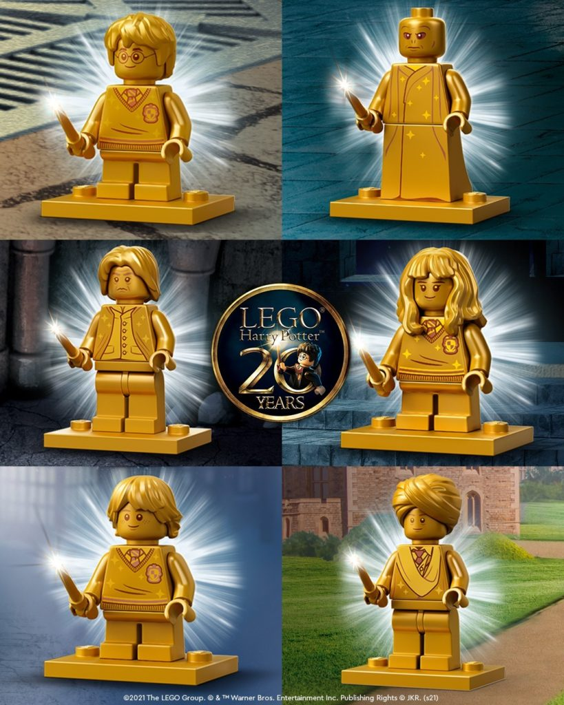 Golden mini-figures by LEGO to celebrate its twentieth anniversary of Harry Potter theme.