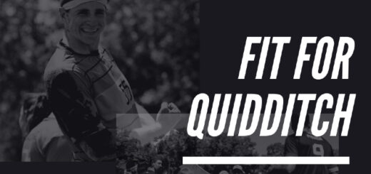 "A black-and-white photo of a quidditch player is shown against a black background. To the right, ""Fit for Quidditch"" is displayed in a white font in all capital letters."