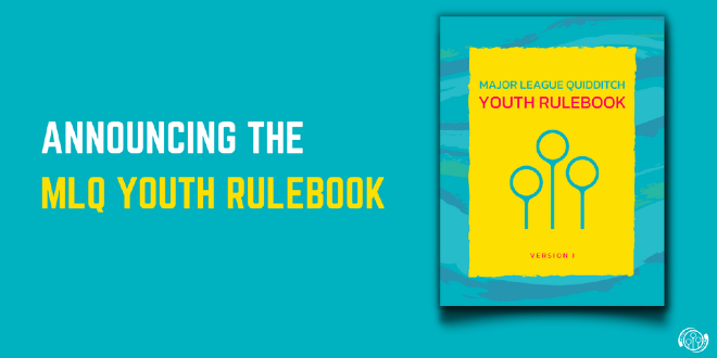 """The cover of the MLQ Youth Rulebook is shown against a cyan background alongside text that reads, """"Announcing the MLQ Youth Rulebook"""" in capital letters."""