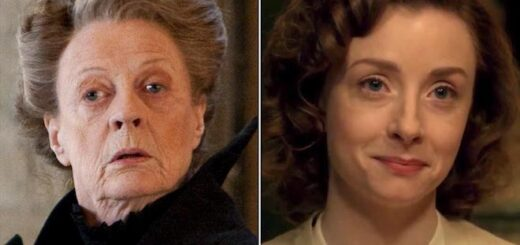 This shows Maggie Smith's and Fiona Glascott's portrayals of Professor McGonagall side by side.