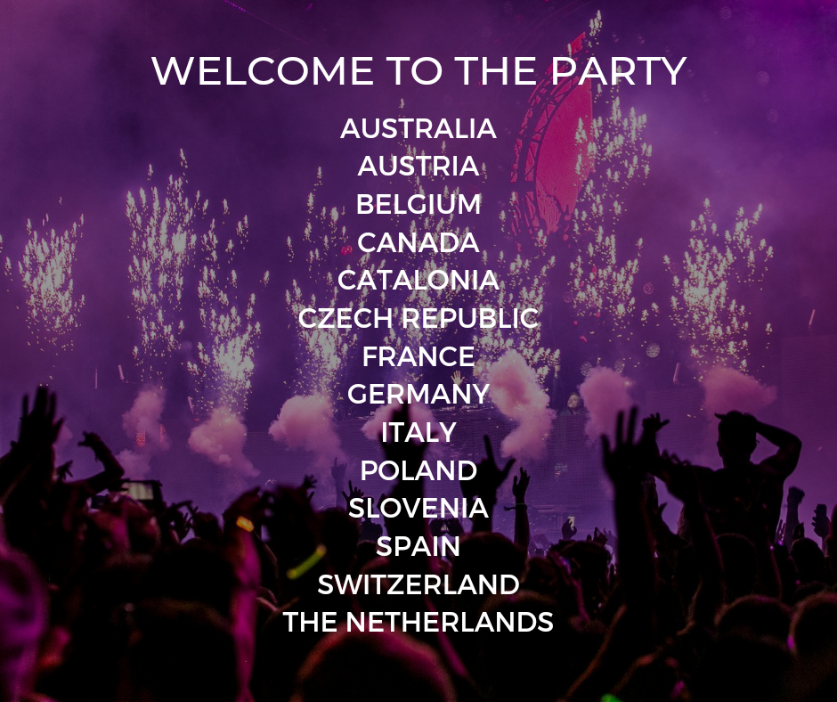 """An image shows the silhouettes of concert attendees with fireworks in the background of the image. The text, in all capital letters reads, """"Welcome to the party,"""" followed by the list of participating national governing bodies. In order, they are: Australia, Austria, Belgium, Canada, Catalonia, Czech Republic, France, Germany, Italy, Poland, Slovenia, Spain, Switzerland, and the Netherlands."""