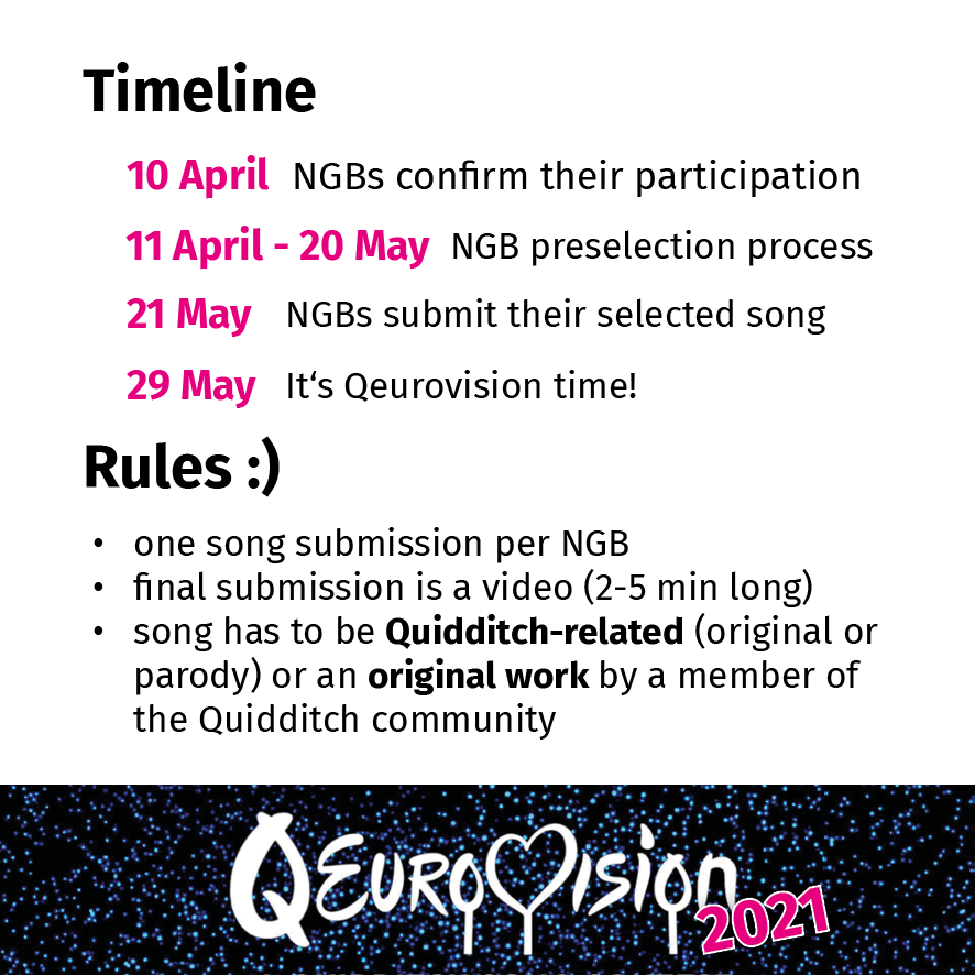 A timeline for Qeurovision 2021 is shown with the dates given in pink. Under the timeline, the rules for submissions are given. The logo for Qeurovision 2021 is also displayed beneath the content.