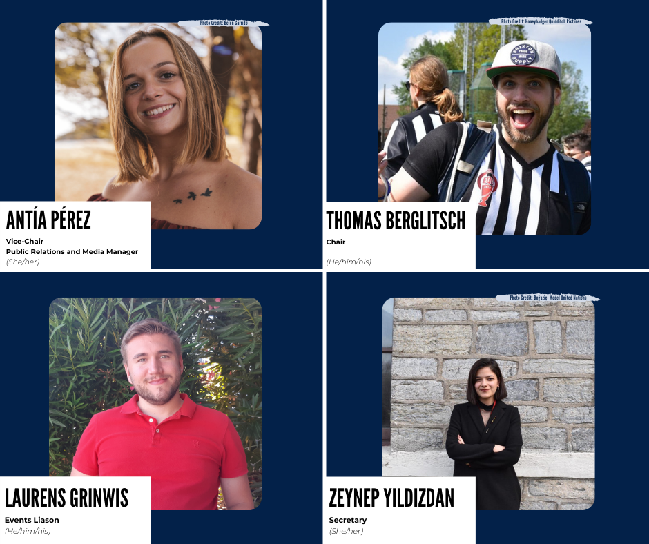 The photos of the four new members of the Quidditch Europe board are shown along with their titles and pronouns. The photos are displayed on a blue background.