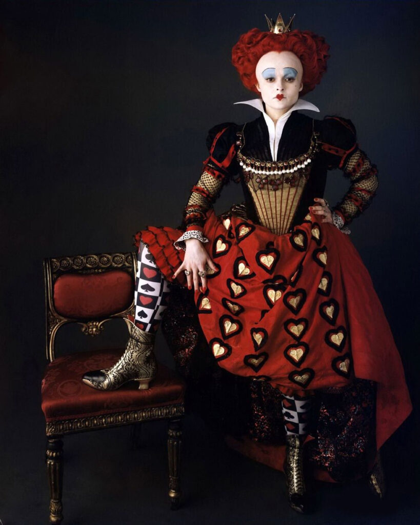 """Helena Bonham Carter is shown in character as the Red Queen for Tim Burton's adaptation of """"Alice in Wonderland."""""""