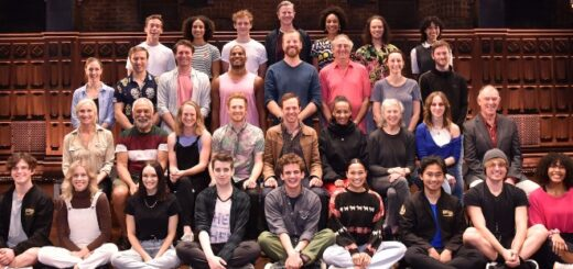 A big smiley group phto of the newest full cast of Cursed Child on the stage of the Melbourne production.