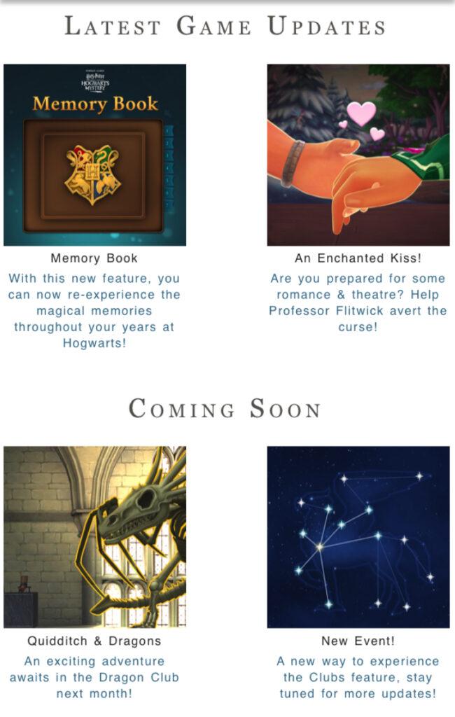 Hogwarts Mystery Updates