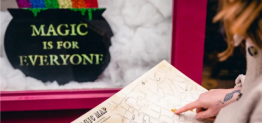"A person with red hair and glasses holds a map in the foreground. In the background, a window display with a pot of gold and the words, ""Magic is for everyone,"" is shown."