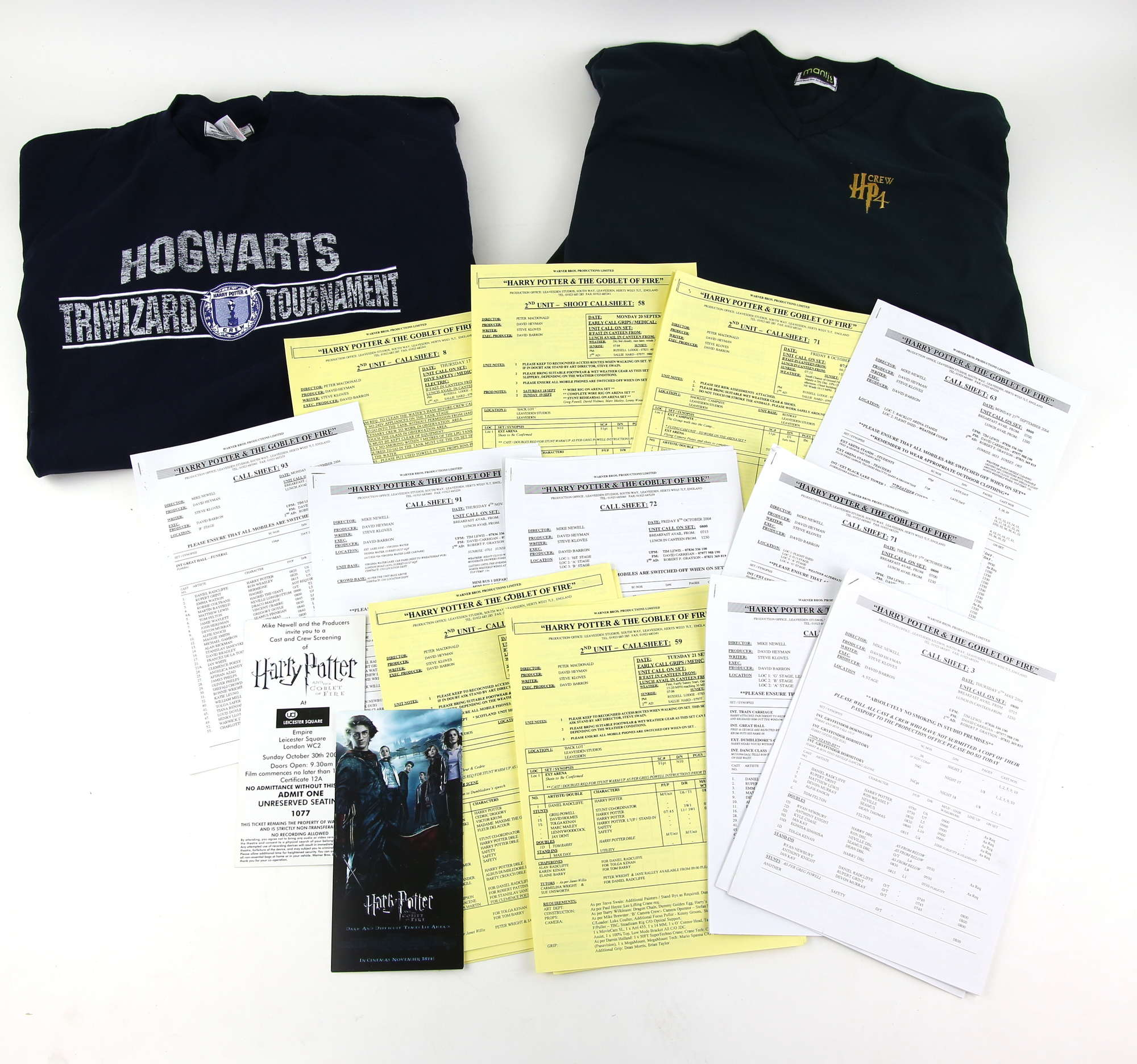 """Alongside several call sheets, included in this lot are two crew T-shirts from the set of """"Harry Potter and the Goblet of Fire."""""""