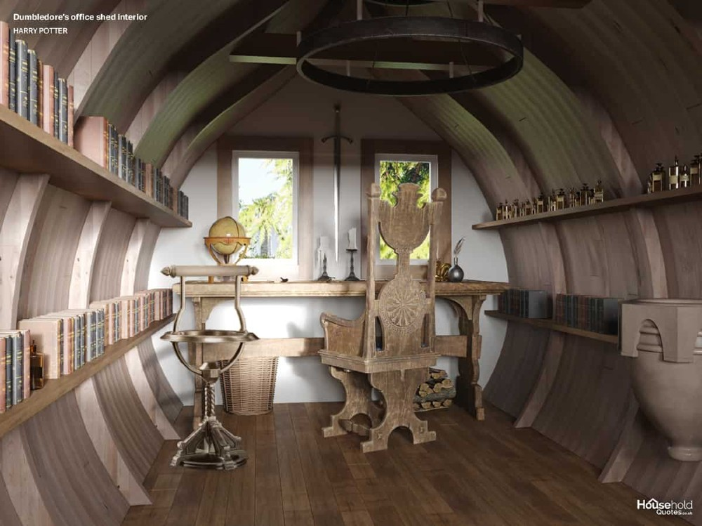 A round shed interior is pictured with a wooden throne-like chair, a pensieve, a sword on the wall, books lining the walls, and a nice woody feel.