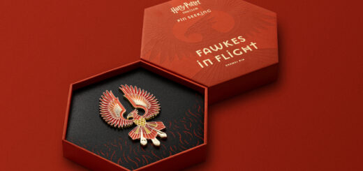 Fawkes spread his red and gold wings as depicted in the newest enamel pin from The Harry Potter Fan Club.