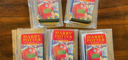 """Five copies of """"Harry Potter and the Philosopher's Stone"""" are pictured as auctioned off by Hansons Auctioneers on May 5, 2021."""