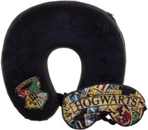 The Harry Potter Hogwarts Travel Pillow and Sleep Mask is pictured as sold on Amazon.