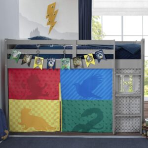 The Harry Potter Loft Bed Tent - Curtain Set for Low Twin Loft Bed is pictured as sold on Amazon.