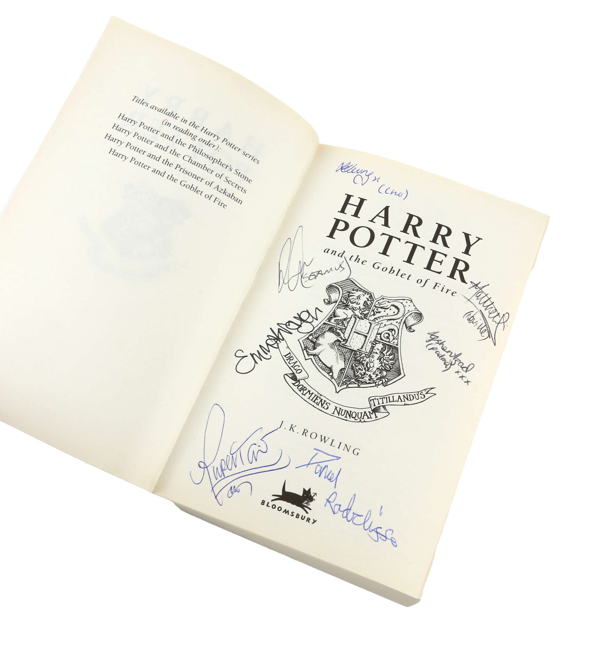 """The most valuable item from the pieces consigned by the crew member is a paperback copy of """"Harry Potter and the Goblet of Fire"""" that was signed by several members of the cast. It is estimated to go for between £700 and £1,000."""