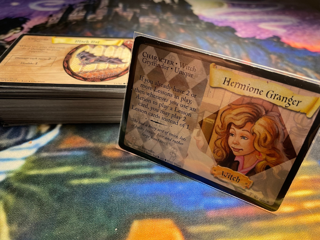 This is Hermione Granger on the Harry Potter Trading Card Game.