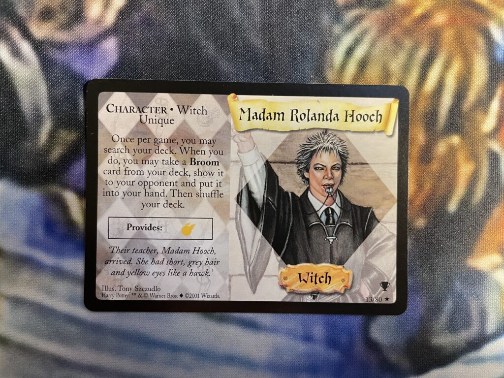 This is a Madam Hooch trading card.