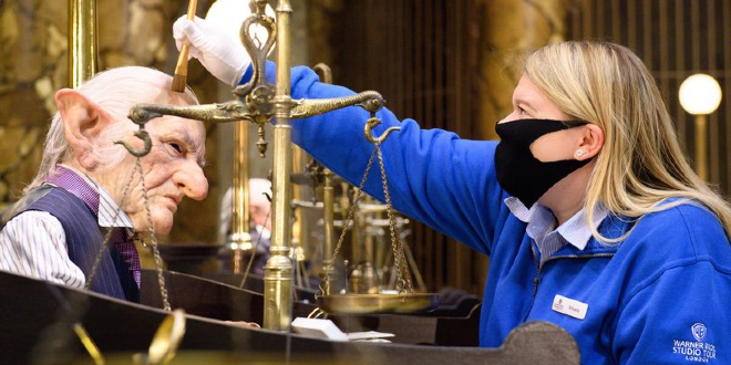 Props in Gringotts Wizarding Bank being prepared by an Interactor