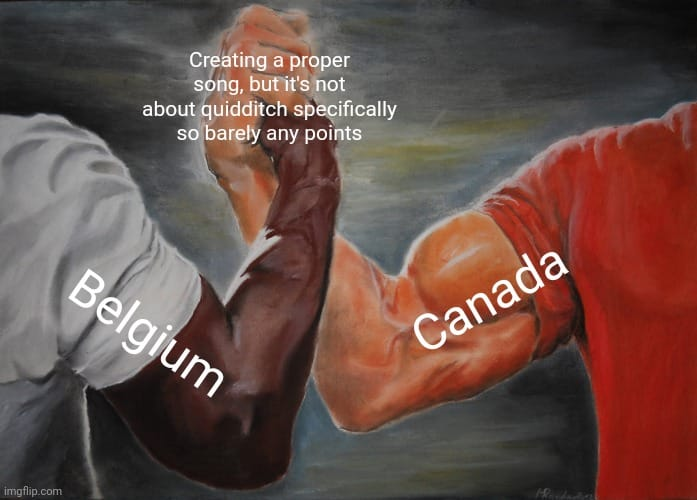 Belgium and Canada created songs without mentioning anything about quidditch.