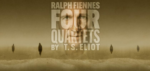 "The face of actor Ralph Fiennes (Lord Voldemort) appears below the text, ""Ralph Fiennes Four Quartets by T.S. Eliot"" in a banner for the production at the Cambridge Arts Theatre."