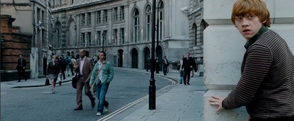 """In """"Deathly Hallows – Part 1,"""" the golden trio return to the corner of Scotland Yard and Scotland Place to look for disguises to infiltrate the Ministry."""