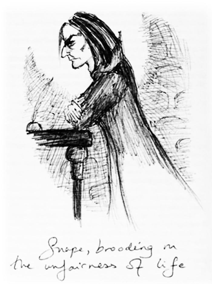 a pen and ink drawing of Professor Snape frowning at his desk. Text at the bottom reads: Snape, brooding on the unfairness of life.