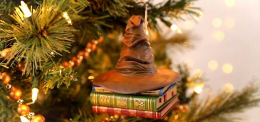 A sorting hat perched on books is pictured as an ornament on a Christmas tree.