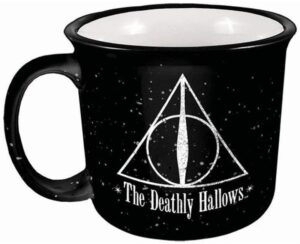 The Spoontiques Harry Potter Deathly Hallows Camper Mug, 14 ounces, Black is pictured as sold on Amazon.