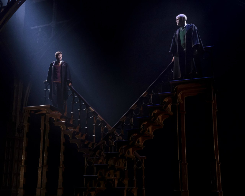 """A still from the Staircase scene from """"Harry Potter and the Cursed Child""""."""