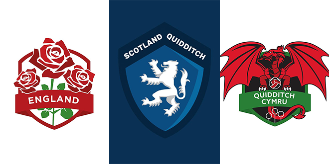 There are three logos. The logo of Team England is shown on the left, featuring red roses on a white background. The logo of Team Scotland, with a white lion, is shown in the middle on a blue background, and the logo of Team Wales, with a red dragon, is shown on the right on a white background.
