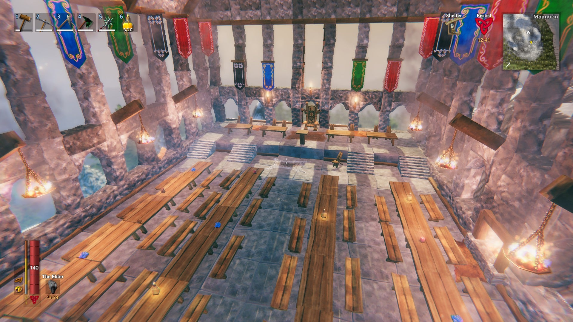 The player managed to recreate the Great Hall in detail despite the game's limited resources.