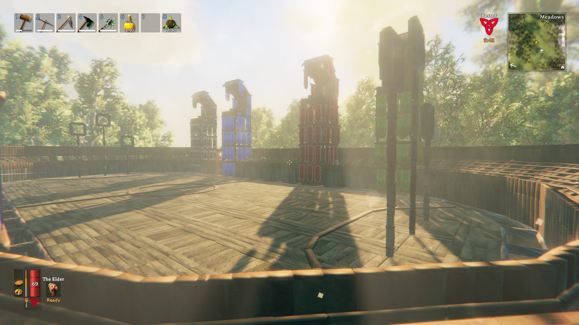 The Quidditch pitch was meticulously recreated with attention to detail, using the game's various materials.
