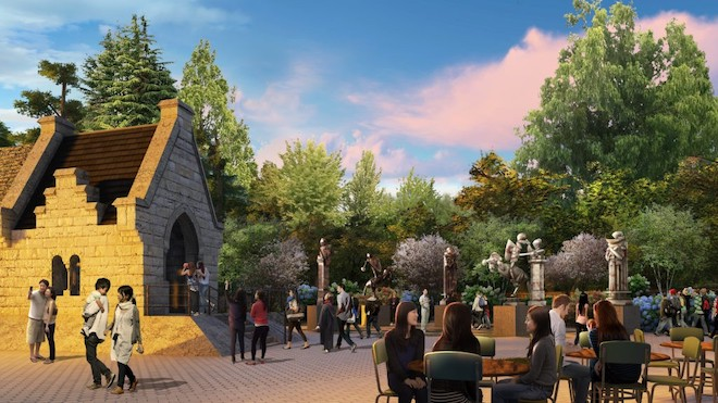 A mock-up image of the backlot at Warner Bros. Studio Tour Tokyo, featuring visitors sat at tables and wizards' chess pieces.